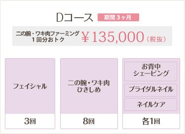 Dコース 135,000円 二の腕・ワキ肉ひきしめ2回分おトク